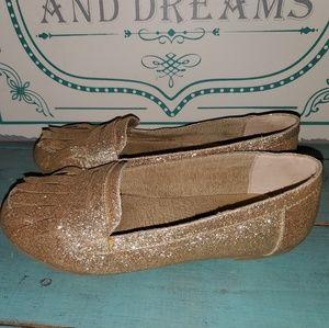 Girls Sz 2 Gold Glitter Joyfolie Loafers